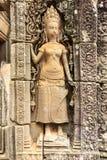 在Bayon寺庙墙壁上的Apsara在柬埔寨 免版税库存照片