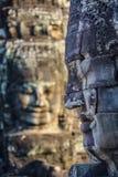 在bayon寺庙的石面孔在暹粒市,柬埔寨10 库存照片