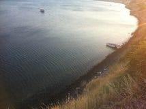 在Bayside靠码头的小船 免版税库存图片
