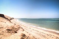 在Bazaruto海岛上的白色海滩 库存图片