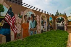 在BB&T大学入口的壁画 免版税图库摄影
