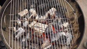 在BBQ格栅坑与火焰,特写镜头的发光的热的木炭 灼烧的煤炭关闭  股票录像