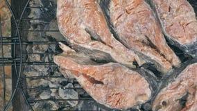 在bbq的油煎的烤三文鱼 从白汁和柠檬的卤汁 股票录像