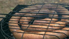 在bbq的烤香肠 品种`原始的纽伦堡Rostbratwurst ` 股票视频
