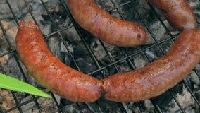 在bbq的烤香肠 品种`原始的纽伦堡Rostbratwurst ` 股票录像