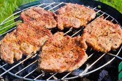 在bbq的烧烤牛排 免版税库存照片