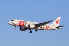 在BCIA,北京,中国的国航B-6610空中客车A-320-200着陆 免版税库存照片