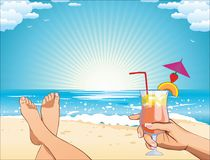 在beach_female的暑假 库存例证