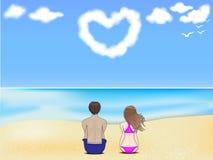 在beach.jpg的夫妇 免版税库存图片