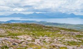 在Bealach na Ba观点的风景视域,在Applecross半岛在韦斯特罗斯,苏格兰人Higlands 免版税库存照片