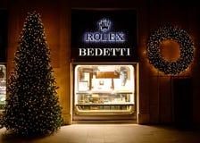 在Bedetti商店罗马意大利的圣诞节时间 库存图片
