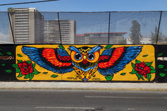 在Bellavista,圣地亚哥de智利街道的街道画  免版税库存照片