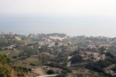 在Benalmadena从Stupa的西班牙Andalicia的看法 免版税库存照片