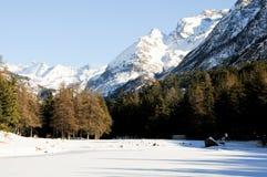 在bionaz附近的美丽的山在瓦尔d'Aosta,意大利 库存照片