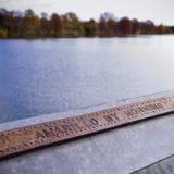 在Bird Lake During Fall夫人的被刻记的栏杆 图库摄影