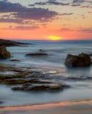 在Birubi海滩,澳洲的日落 库存照片