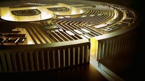 在bitcoin迷宫的商人 3d翻译 免版税库存照片