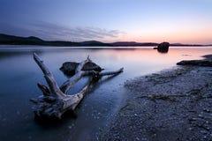 在Blak海和日志的日落 库存图片