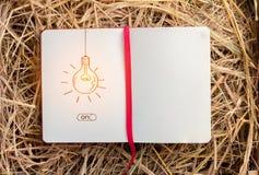 在blankpage笔记本的电灯泡图画 JPG 库存图片