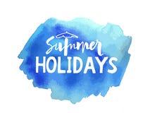 在bloth蓝色的传染媒介手写的暑假 向量例证