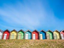 在Blyth的海滩小屋 库存图片