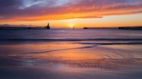 在Blyth码头的黎明 免版税库存照片