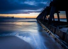 在Blyth码头的黎明 免版税库存图片
