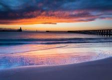 在Blyth码头的黎明 图库摄影