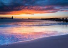 在Blyth码头的黎明 免版税图库摄影