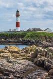 在Boddam英国苏格兰的灯塔 库存图片