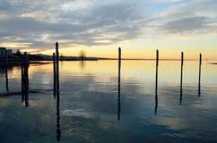 在Boden湖的晚上 免版税库存照片