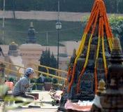 在Bodhgaya的Mahabodhi寺庙,比哈尔省,印度 图库摄影