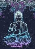 在Bodhi树的坐的菩萨 在霓虹颜色的图表优质传染媒介例证 精神和宗教动机 免版税库存图片