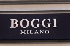 在Boggi米兰的商店的Boggi米兰商标 免版税库存照片