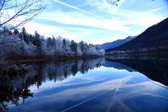 在Bohinj湖的微明 免版税库存图片
