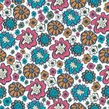 在boho样式的手拉的花卉无缝的样式装饰品 库存照片