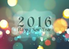 在Bokeh光葡萄酒背景的新年快乐2016年 免版税库存照片