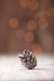 在bokeh背景的银色杉木锥体 免版税库存图片