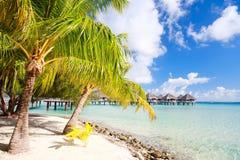 在Bora Bora的理想的海滩 免版税图库摄影