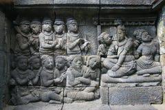 在borobudur寺庙的安心 免版税库存图片