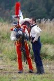 在Borodino争斗历史再制定的Reenactors在俄罗斯 库存照片