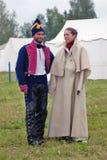 在Borodino争斗历史再制定的Reenactors在俄罗斯 库存图片