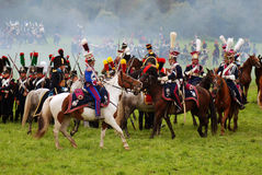 在Borodino的马车手在俄罗斯作战历史再制定 库存图片