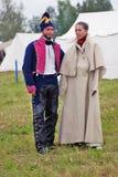 在Borodino的Reenactors夫妇 库存图片