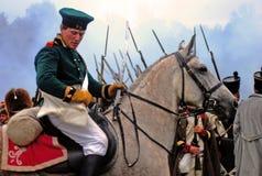 在Borodino 2012历史再制定的马车手 免版税库存图片