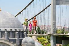 在Bosphorus桥梁的家庭步行 免版税库存照片