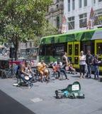 在Bouke街购物中心,墨尔本,澳大利亚的娱乐 免版税库存图片