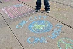 在Boylston街附近的街道画在波士顿,美国, 免版税库存图片