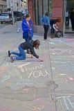 在Boylston街附近的街道画在波士顿,美国, 图库摄影