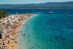 在Brac海岛上的金黄垫铁在克罗地亚 库存图片